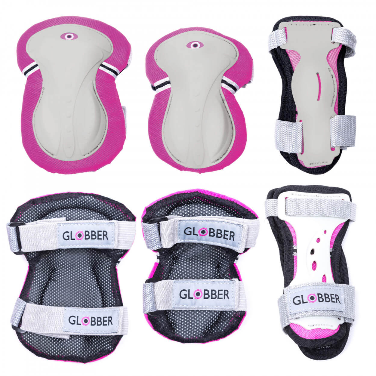 Plum Globber Junior Protective Gear - Pink & White