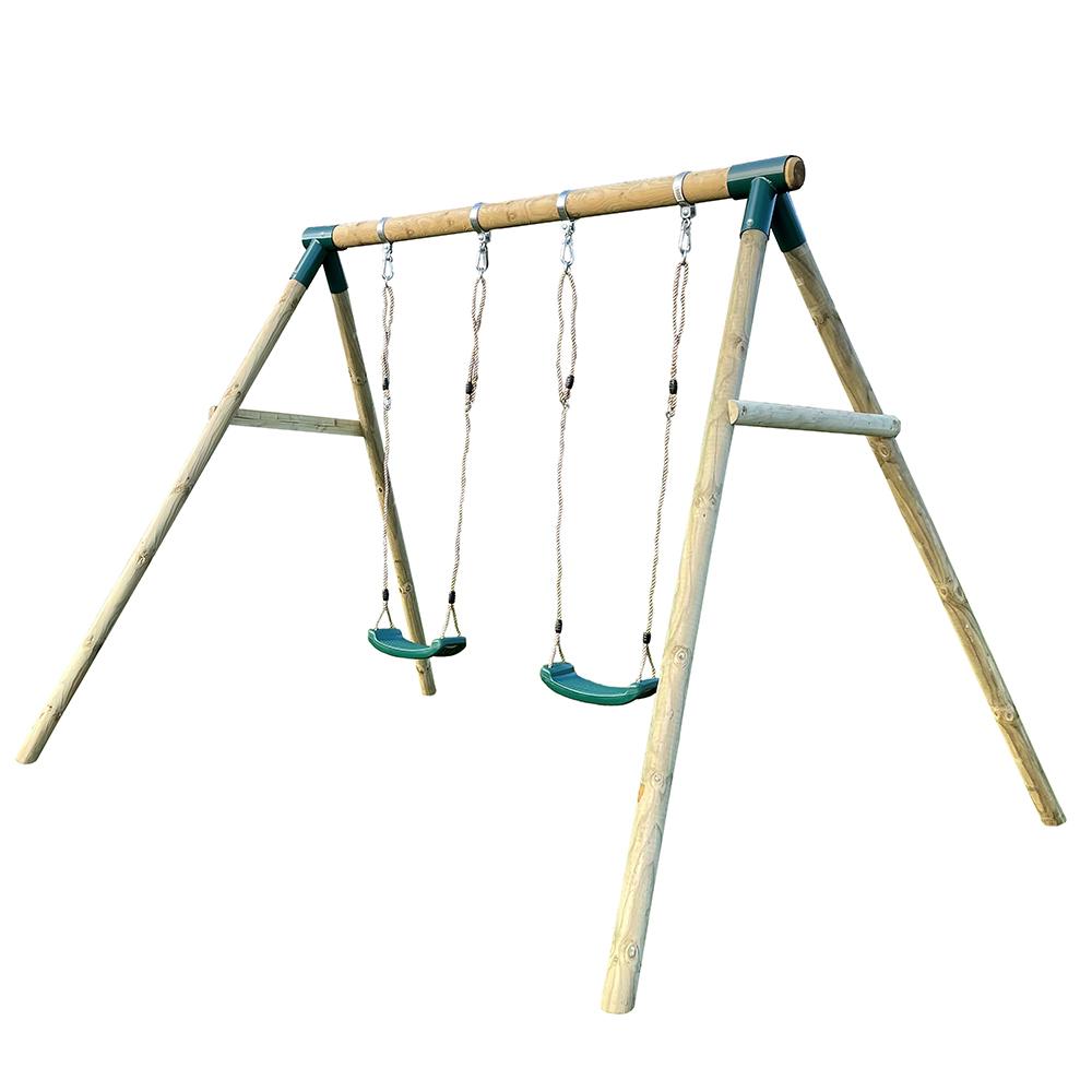 Premium Play Premium Roundwood Double Swing with FREE Protektamats