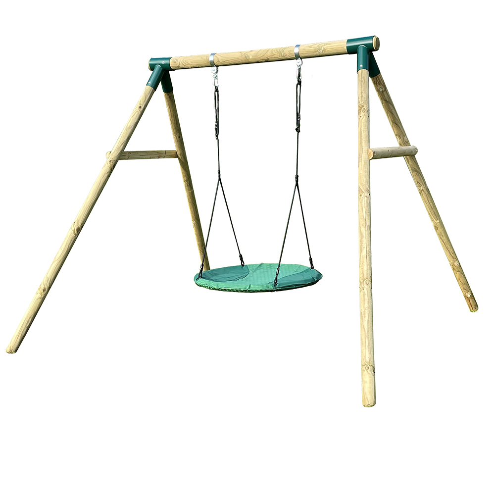 Premium Play Premium Roundwood Nest Swing with FREE Protektamats
