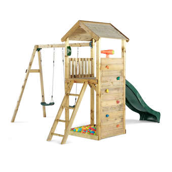 Plum Premium Wooden Lookout Tower with Swings + FREE Protektamats (Pack of 2)