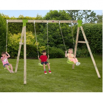 Plum Loris Premium Wooden Swing Set with FREE Protektamats