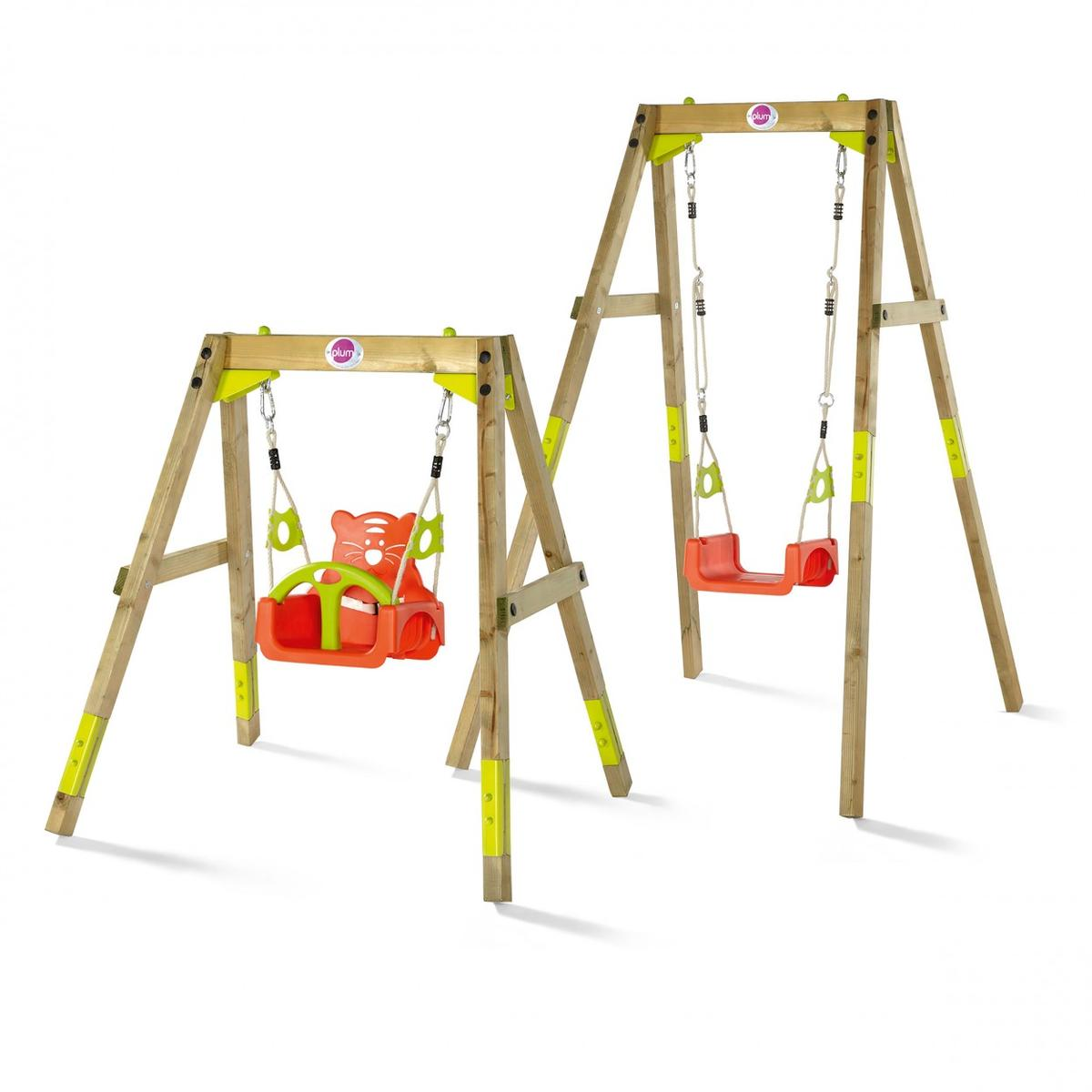 Plum Wooden Growing Swing Set Adjustable Wooden Swing