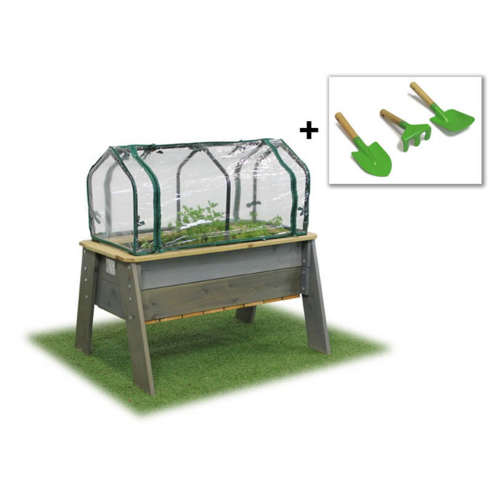 EXIT Toys Aksent Kids Planter Table L Deluxe with Greenhouse
