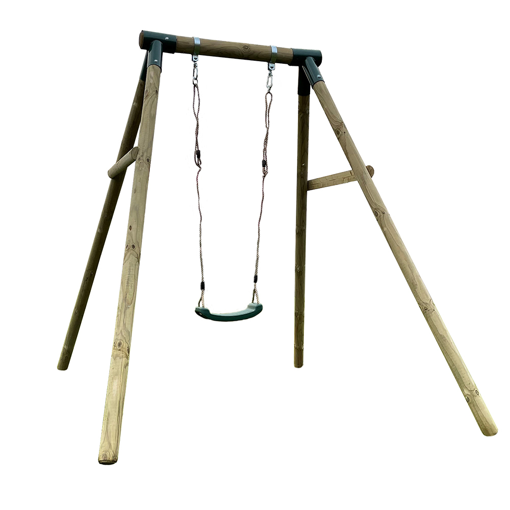 Premium Roundwood Single Swing with FREE Protektamats