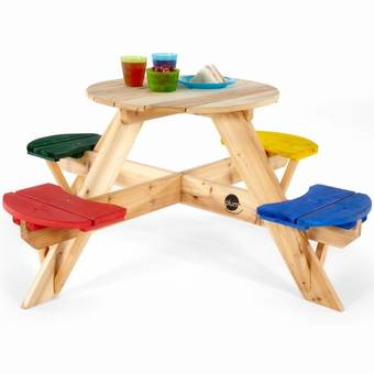 Plum Children's Circular Picnic Table with coloured seats