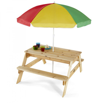 Plum Children's Rectangular Picnic Table and Parasol