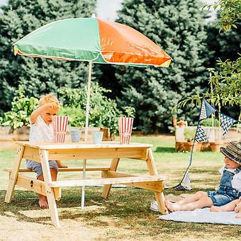 Plum Children's Garden Picnic Table and Parasol