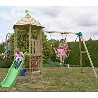 TP Castlewood with Double Swing, Wavy Slide & Den