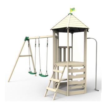 Castlewood Tower with Den Pack, Double Swing Set and Crazy Wavy Slide