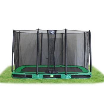EXIT Toys InTerra Rectangular Trampoline Green with Safety Net