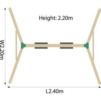 Plum Marmoset Wooden Pole Swing Set + FREE Protektamat Black (Pack of 2)