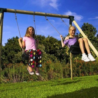 Plum Marmoset Wooden Pole Swing Set with FREE Protectamats (Pack of 2) 2