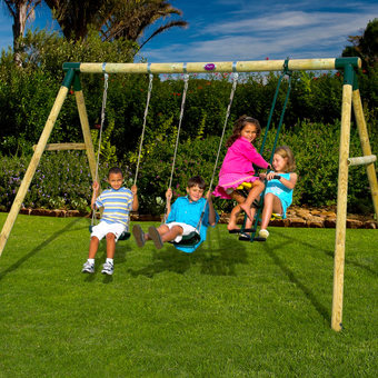 Plum Colobus Wooden Pole Swing Set  + FREE Protektamats (Pack of 2)