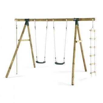 Plum Gibbon Wooden Swing Set + FREE Protektamat Black (Pack of 2)