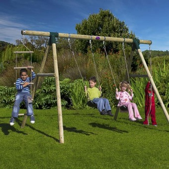 Plum Gibbon Wooden Swing Set  with FREE Protektamats (Pack of 2)