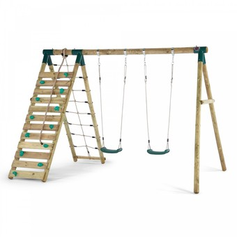 Plum Uakari Wooden Swing Set + FREE Protektamat Black (Pack of 2)